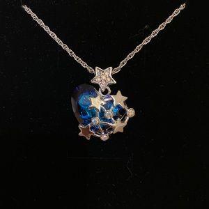Swarovski Blue Heart Galaxy Crystal Necklace